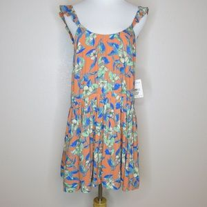 Free People Dear You Mini Dress in Orange Combo XS